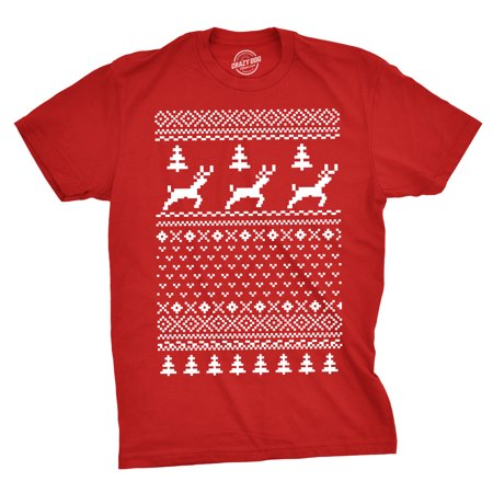 Reindeer Ugly Christmas Sweater T Shirt Funny Holiday Party Vintage Pattern Tee - Christmas Sweater T-shirt