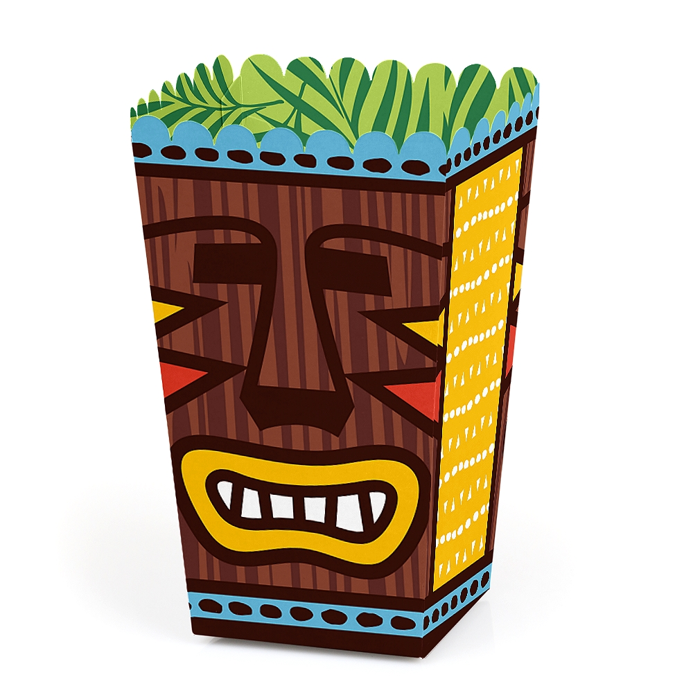 Tiki Luau - Tropical Hawaiian Summer Party Favor Popcorn Treat Boxes - Set of 12