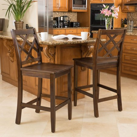 Noble House James Brown Acacia Wood Counter Stools (Set of 2)