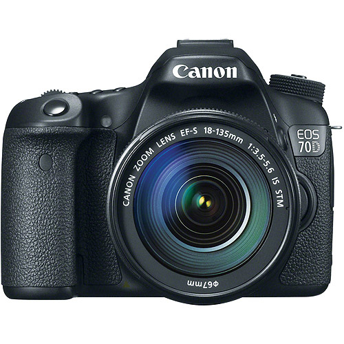 Canon Black EOS 70D 20.2 MP Digital SLR Camera Kit, Includes 18-135mm Lens