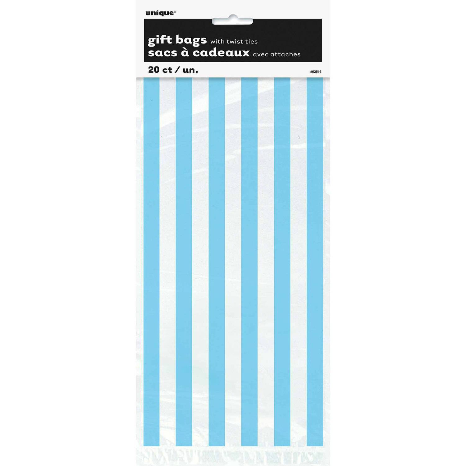 Light Blue Striped Cellophane Bags, 20-Count
