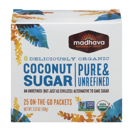 Madhava Organic Coconut Sugar Single Packets 25ct. Organic Sugar Cones