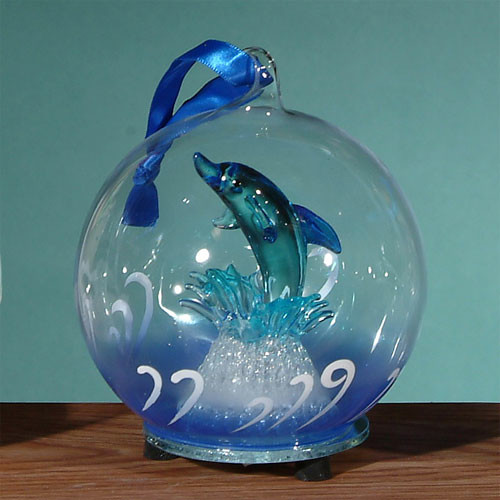 Unison Gifts Light Up Glass Dolphin Jumping Ornament
