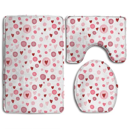 Pudmad Cute Valentines Day Heart Vintage 3 Piece Bathroom