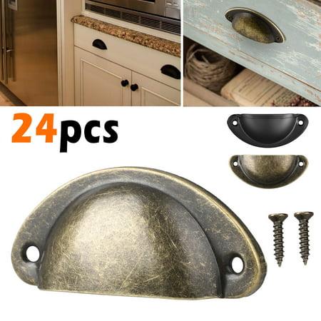 Drawer Pull Handle, TSV 24Pcs Antique Retro Shell Kitchen Cupboard Door Cabinet Knob Drawer Pull Handles for Door Cabinet Drawer Cupboard ()