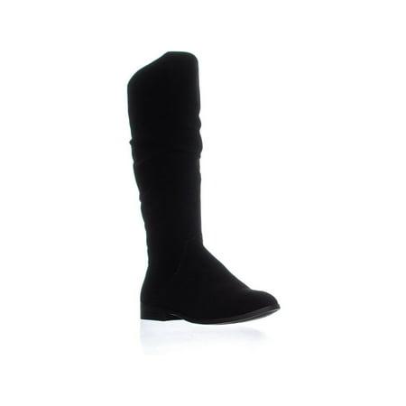 Womens SC35 Kelima Block Heel Zip Up Mid Calf Boots, Black Suede](Susie Boots)