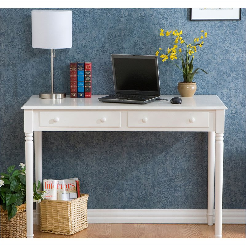 Holly & Martin Parker 2-Drawer Writing Desk in Crisp White