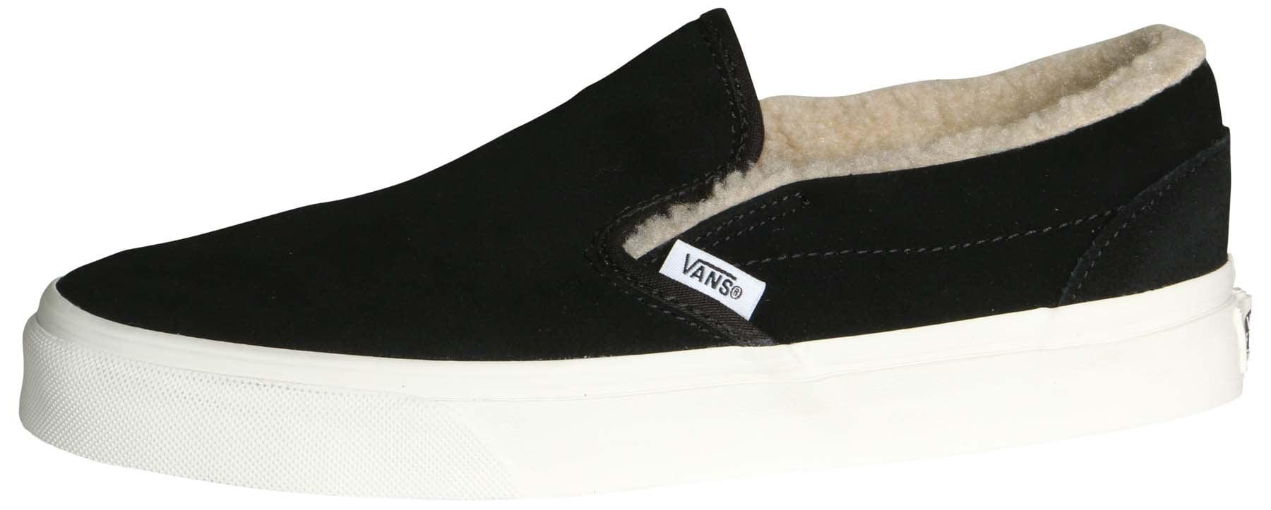 Vans Classic Slip On Suede/Fleece Black/True White Men's Skate Shoes Size 11.5