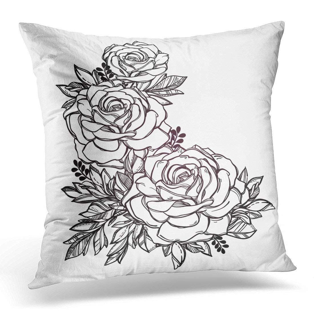 Arhome Vintage Floral Highly Detailed Rose Flower Stem With Roses And Leaves Victorian Tattoo Bouquet Pillow Case Pillow Cover 20x20 Inch Walmart Com Walmart Com