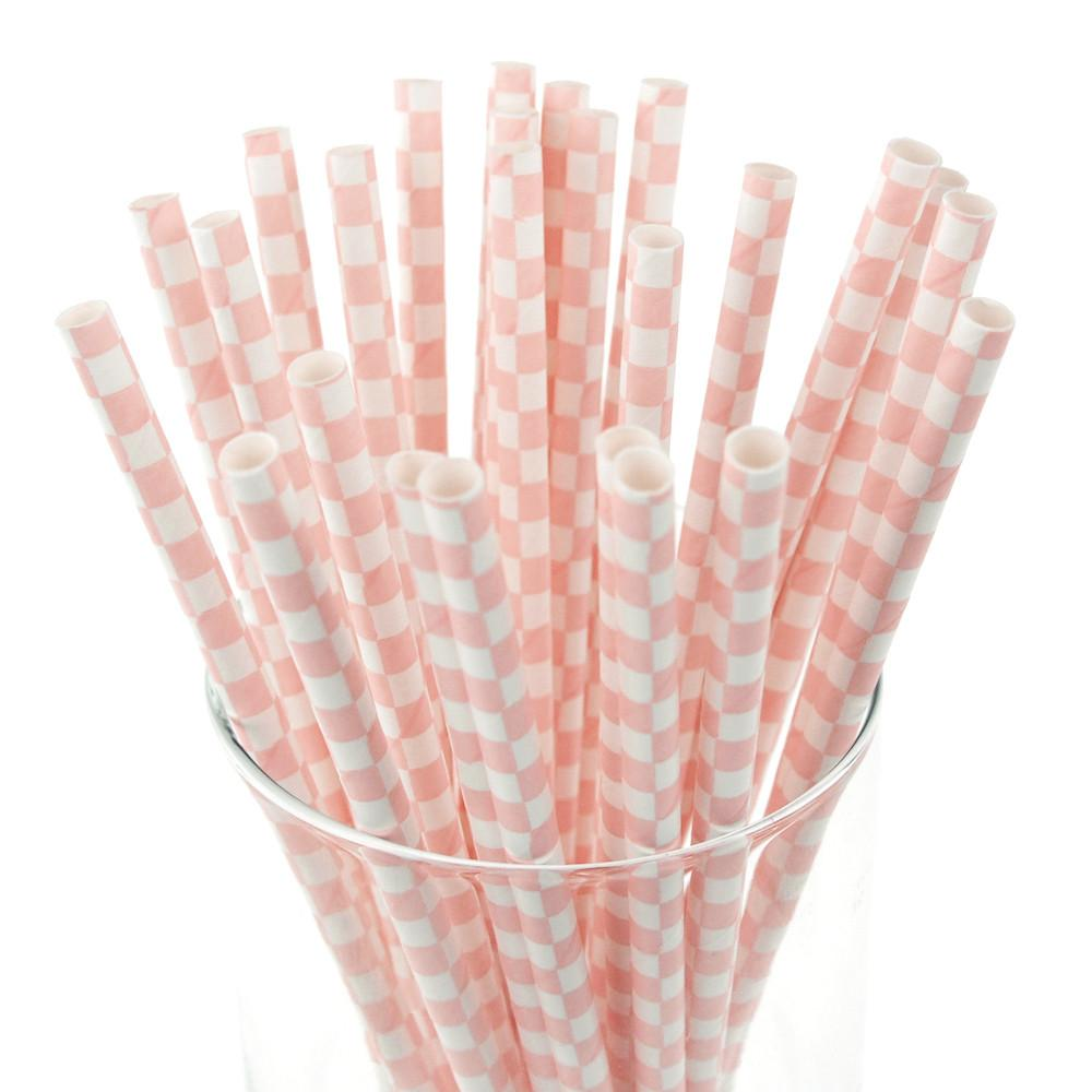 Race Car Checkered Paper Straws, 7-3/4-inch, 25-Piece, Light Pink