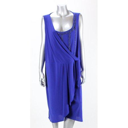 Onyx Nite Plus Size Royal Sleeveless Beaded Foldover Sheath Dress 18W - Plus Size Beaded Flapper Dress