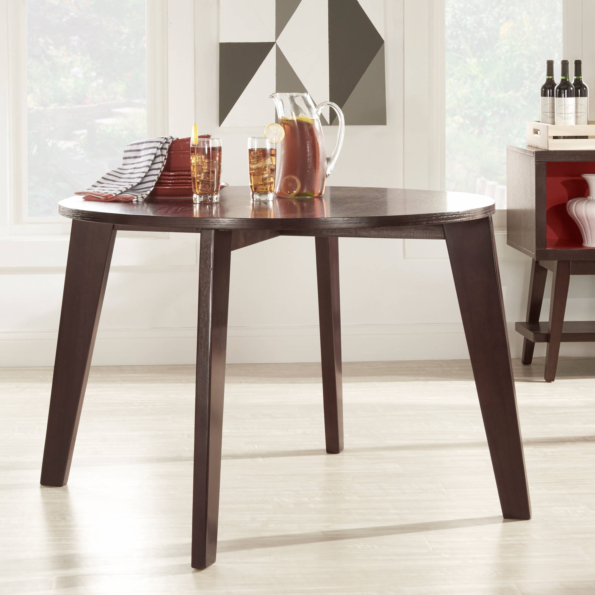 Chelsea Lane Baxter Round Dining Table, Dark Brown by Overstock