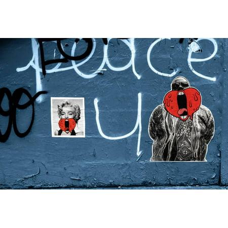 Marilyn Monroe and Biggie Graffiti on Blue Brick Wall in Brooklyn NY Print Wall