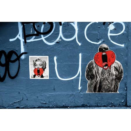 Marilyn Monroe and Biggie Graffiti on Blue Brick Wall in Brooklyn NY Print Wall Art - Party City Monroe Ny