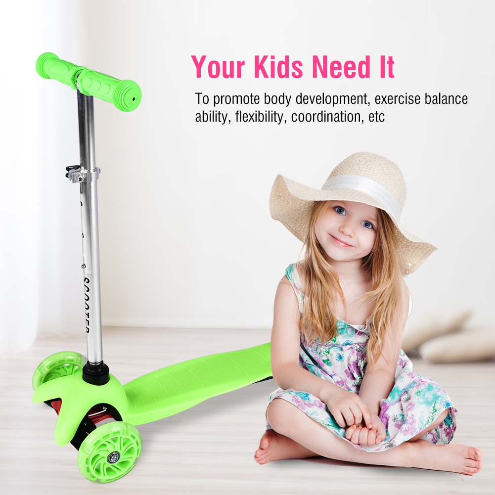 Yosoo 3-Wheel Scooter For Kids,Height Adjustable Foldable Kick Scooter with PU LED Light Up Flashing Wheels
