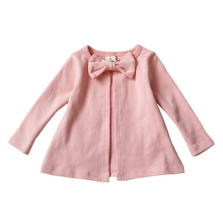 Infant Baby Girls Cotton Bowknot Jacket Tops Long Sleeve Cardigan Outwear