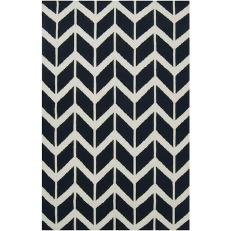 8 X 11 Chevron Pathway Federal Blue And Winter White Wool Area Throw Rug