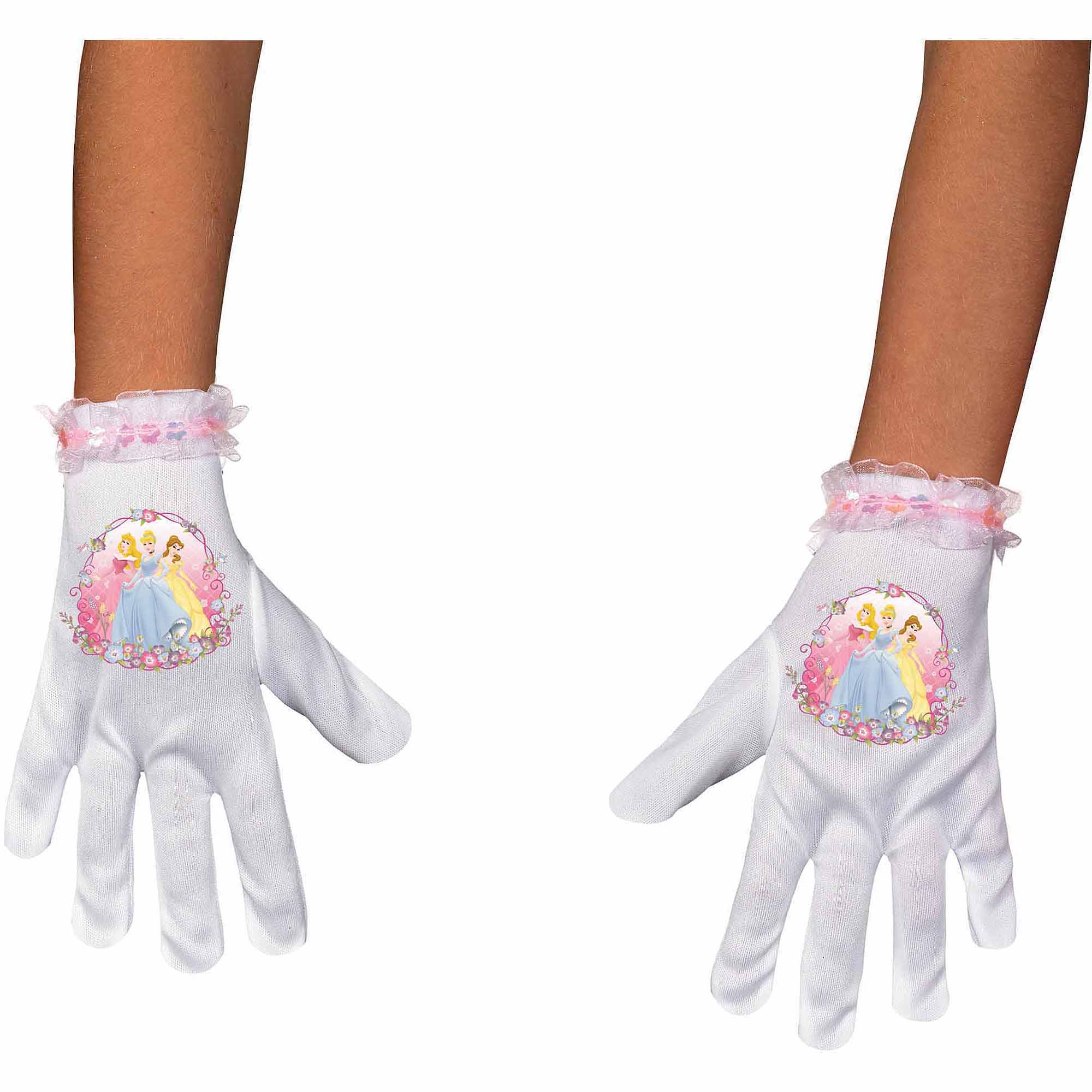 Girls White Pink Disney Princess Satin Costume Accessory Gloves