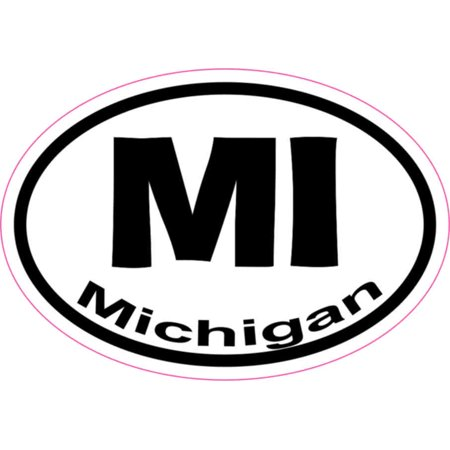 3X2 Oval MI Michigan Sticker Vinyl State Vehicle Window Stickers Bumper Decal - Oval Vinyl Sticker