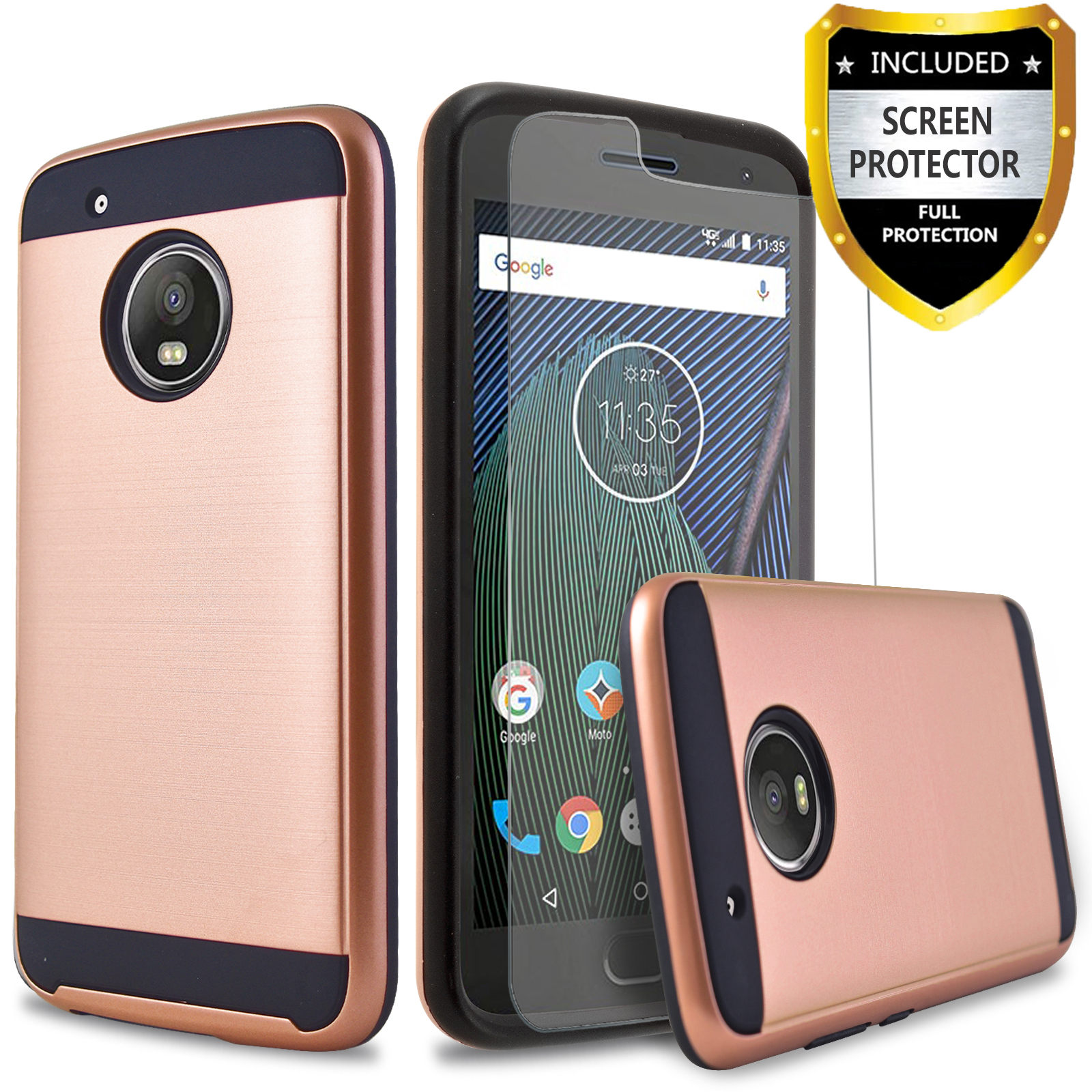 Moto E5 Play Case, Circlemalls 2-Piece Style Hybrid Shockproof Hard Case Cover And Touch Screen Pen (Rose Gold)