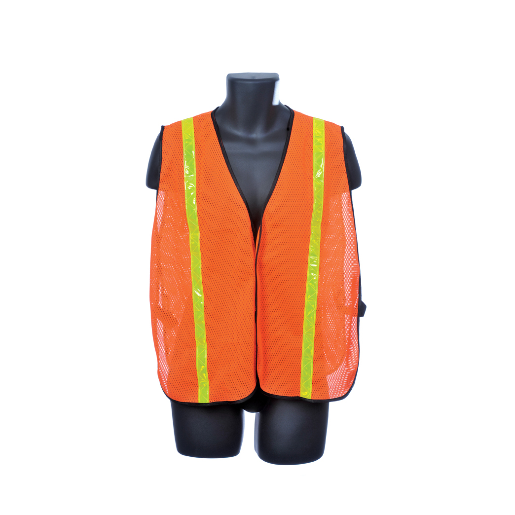 Safety Mesh Vest - Orange w/Yellow Reflector Stripes. Size: One Size Fits Most Lot of 1 Pack(s) of 1 Unit