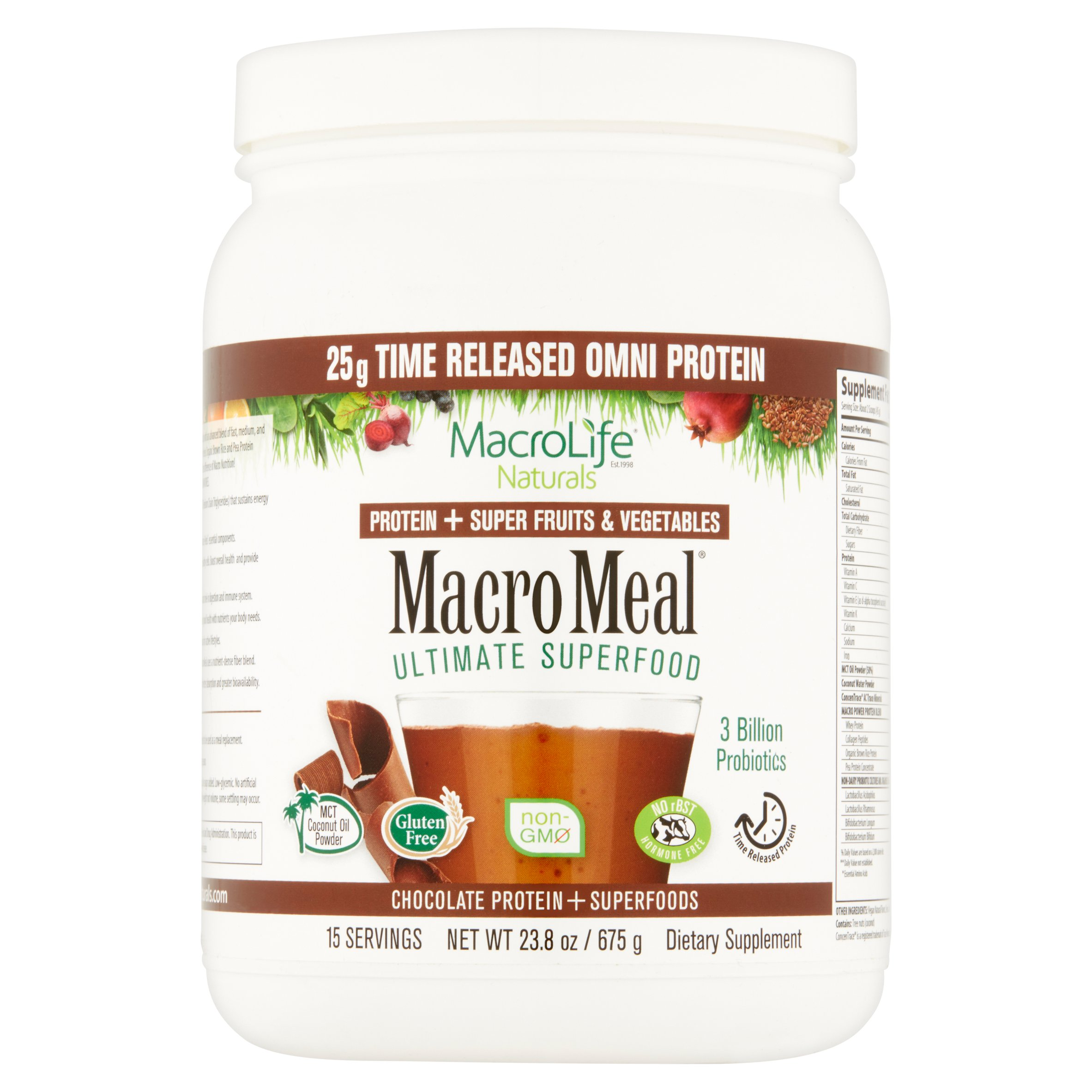MacroLife Naturals MacroMeal Protein & Superfoods, Chocolate, 1.5 Lb