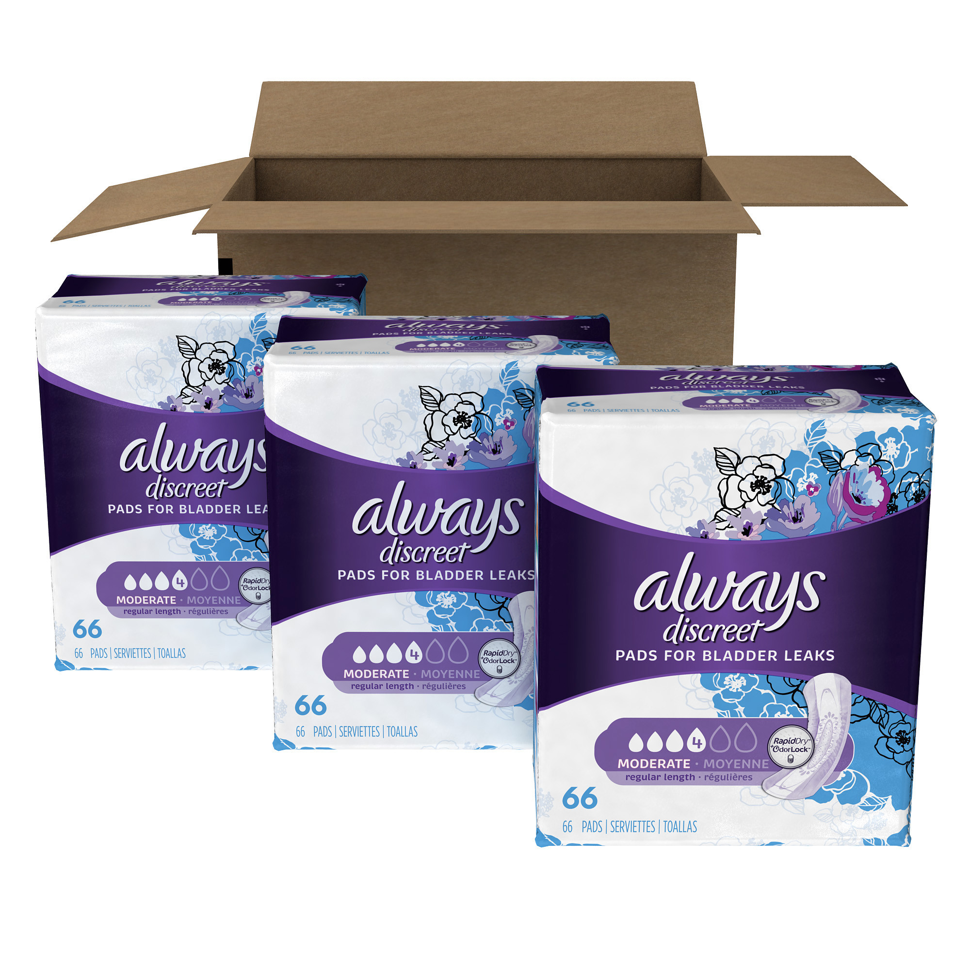 Always Discreet Incontinence Pads, Moderate (Choose Size and Count)