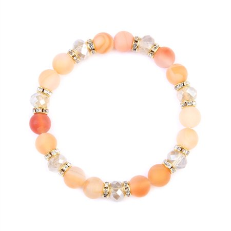 Natural Stone, Rondelle Beads Stretch (White Crystal Ladys Bracelet)
