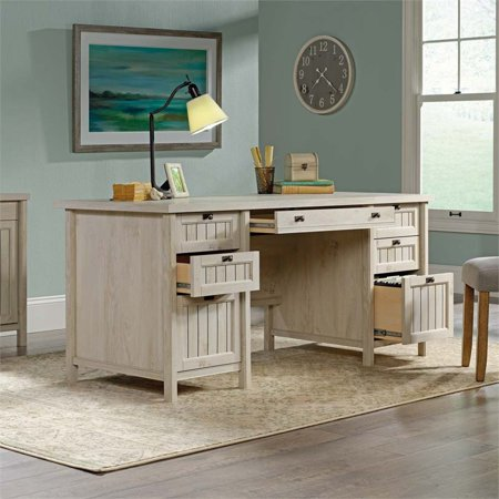 Sauder 2 Piece Executive Desk and Lateral File Set in Chalked Chestnut - image 2 of 5