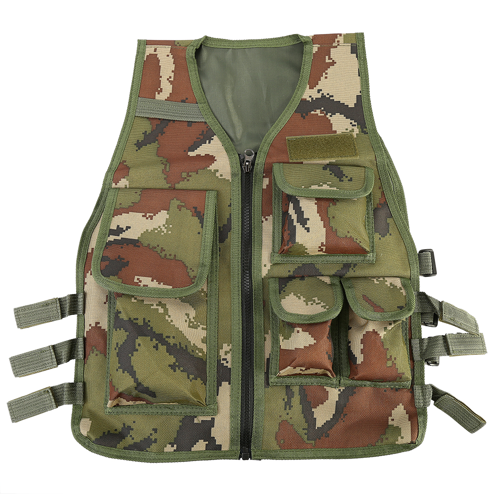 Anauto Combat Vest,Nylon Tactical Children Airsoft Hunting Body Armor Vest For CS Game Paintball Fits Ages 8-14 Yrs(army green camouflage)