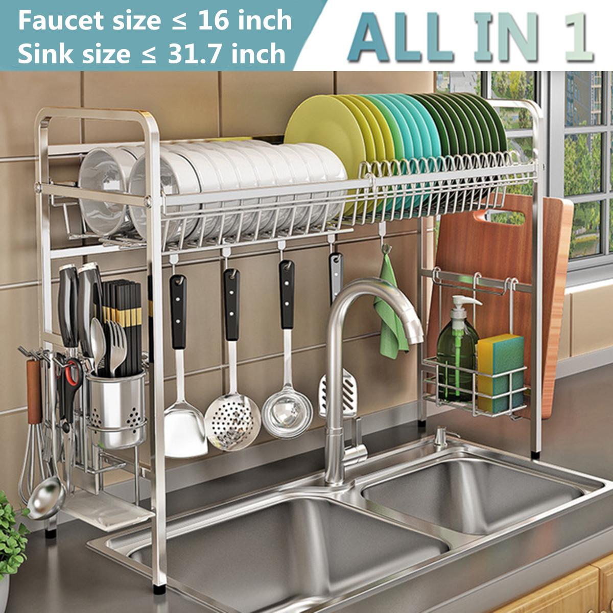 Dish Rack Drying Kitchen Steel Stainless Drainer Holder Sink Shelf Over Storage