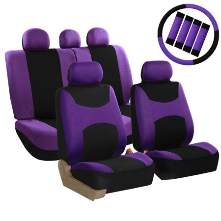 FH Group Light & Breezy Purple and Black Auto Accessories Set, with Steering Wheel Cover and Seat Belt Pads, Airbag Compatible and Split Bench Full Set Seat