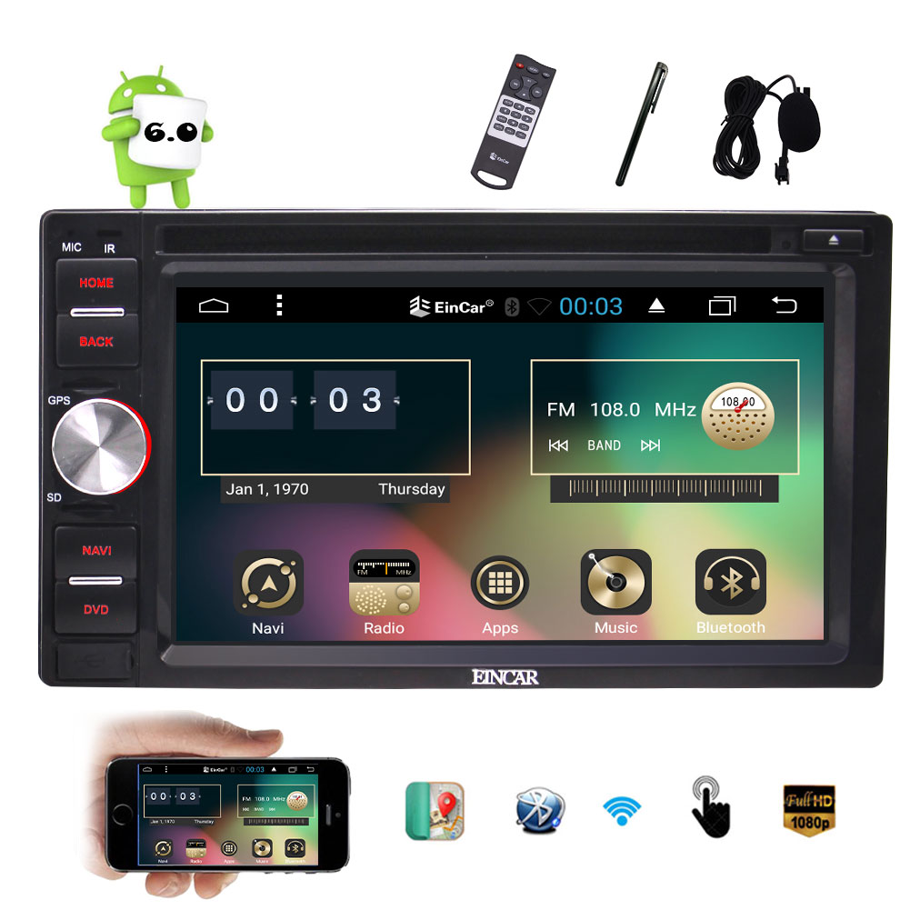 Android 6.0 Car DVD Player with 6.2'' Touch Screen Double 2 Din Car Stereo GPS Navigation In Dash Head Unit Radio Receiver Support Bluetooth WiFi OBD2 Mirrorlink External Microphone EinCar Car Video