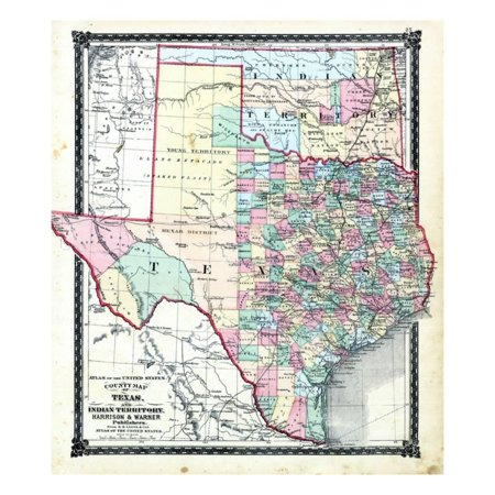 1876, County Map of Texas and Indian Territory, Missouri, United States Print Wall Art 1876 Indiana County Map