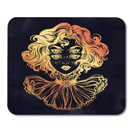 SIDONKU Gothic Witch Girl Head Portrait Curly Hair and Four Eyes Lady is Ideal Halloween Tattoo Weird Mousepad Mouse Pad Mouse Mat 9x10 inch - Halloween Math Ideas For First Grade