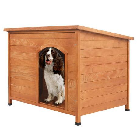 (GHP 30-Kg Capacity Natural Wood Color Fir Wood Plastic & Asphalt Hinged Roof DogHouse)