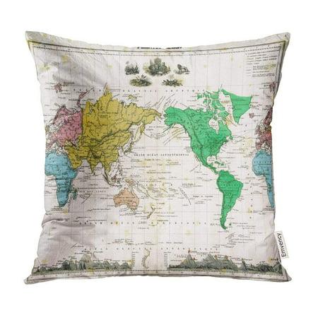 BOSDECO Vintage Antique 1875 Map of World Old City Atlas Pillow Case Pillow Cover 16x16 inch - image 1 de 1
