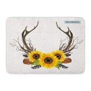 GODPOK Wedding Beautiful of Horns Boho Chic Style Design with Deer Antler Sunflowers Branches Feathers White Rug Doormat Bath Mat 23.6x15.7 inch