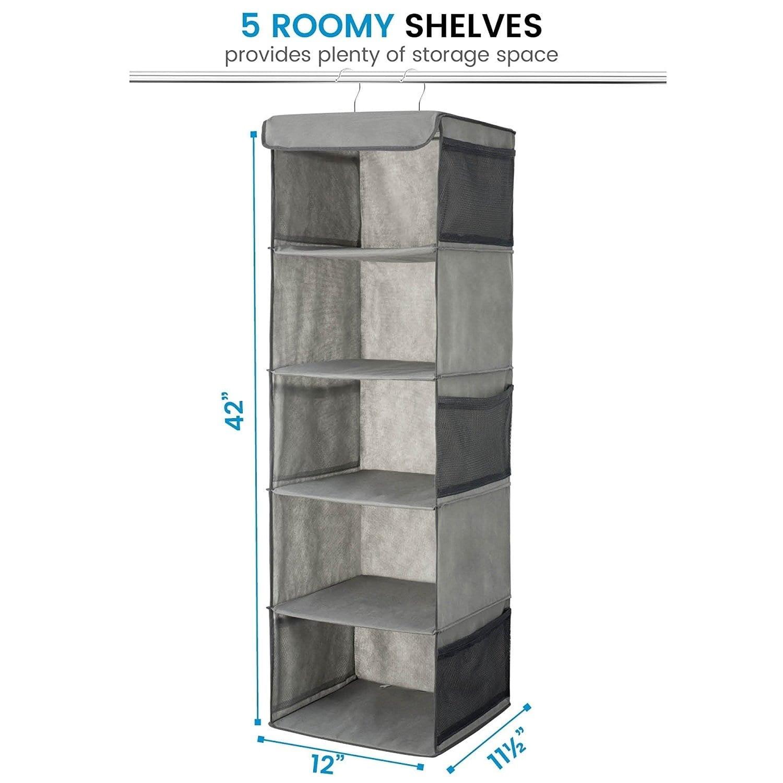 Roomy Breathable Hanging Shelves 5 Shelf Hanging Closet Organizer Space Saver