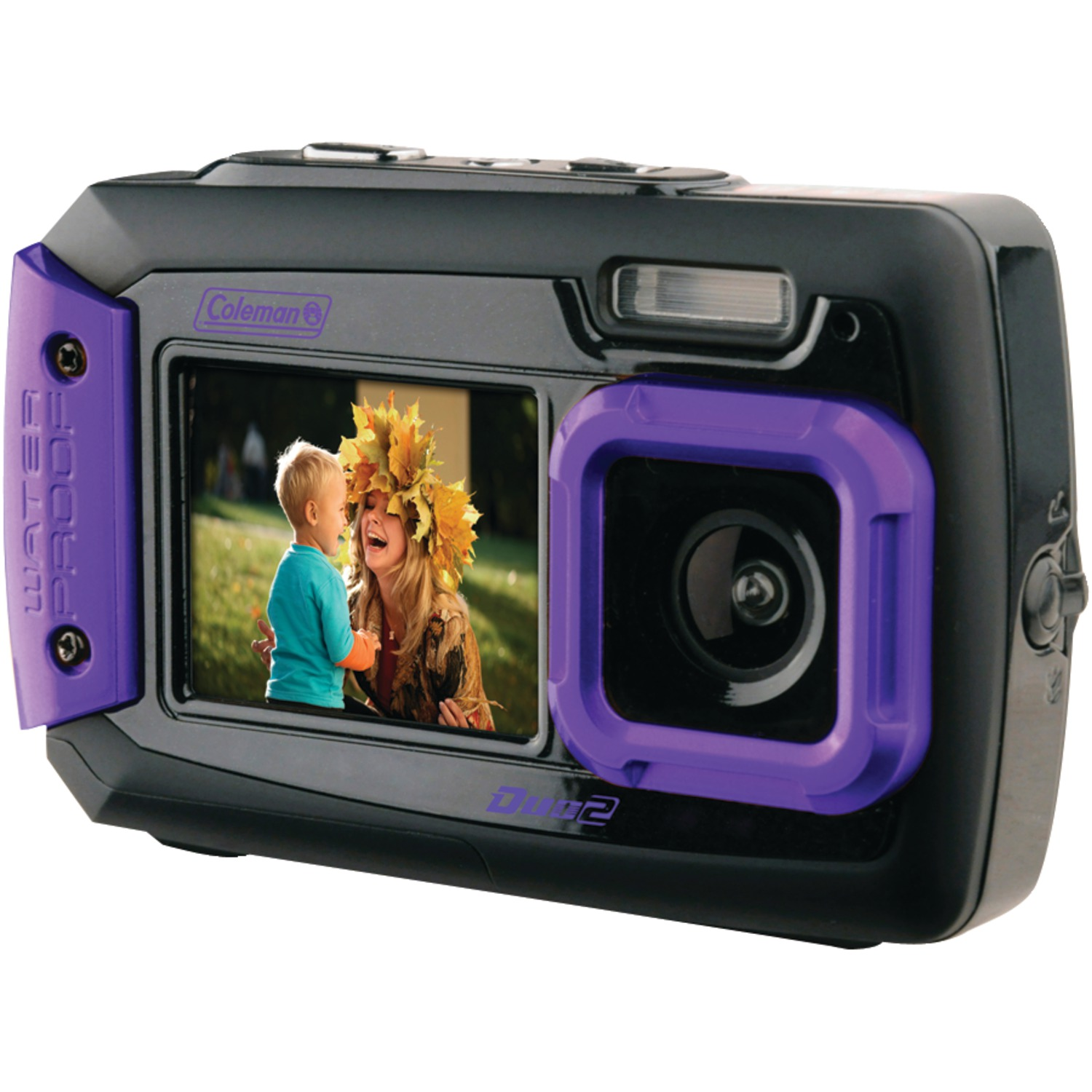 Coleman 2V9WP-P 20.0-Megapixel Duo2 Dual-Screen Waterproof Digital Camera (Purple)