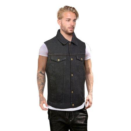 Men's Casual Sleeveless Denim Snap Front Collar Shirt Club Style Vest Jacket