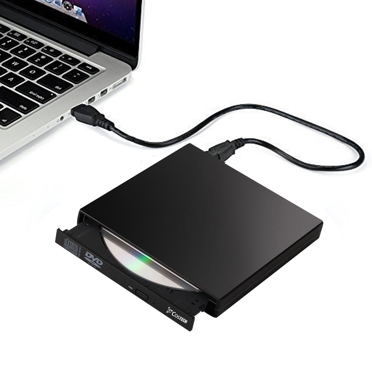 Costech USB 2.0 External Drive Slim Portable CD-RW Drive DVD-R Combo Burner Player for PC Laptop Notebook Desktop Computer