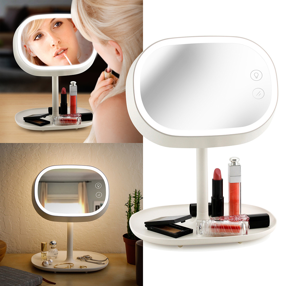 Makeup Mirror Lighted Lamp LED Vanity Travel Portable Cordless Rechargeable Battery Powered Rectangle Natural Light Touch Screen Desk With Under Organizer Storage Tray Adjustable Swivel - White