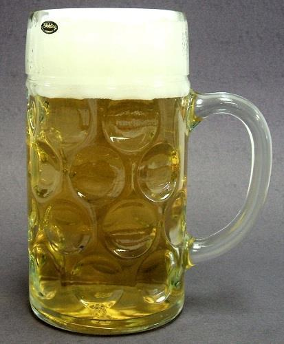 Bsg52-047nd One Liter Plain German Glass Dimple Beer Mug 8 Inches Tall by
