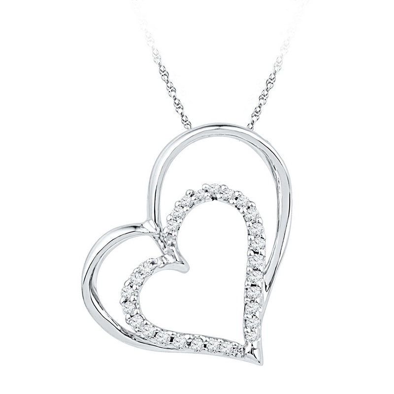 10K White Gold 0.12ctw Shiny Pave Diamond Fashion Double Heart Pendant