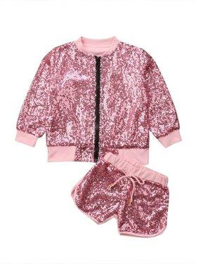 Toddler Kid Baby Girl Long Sleeve Sequin Zip Tops Coat Jacket Pants Outfits Set