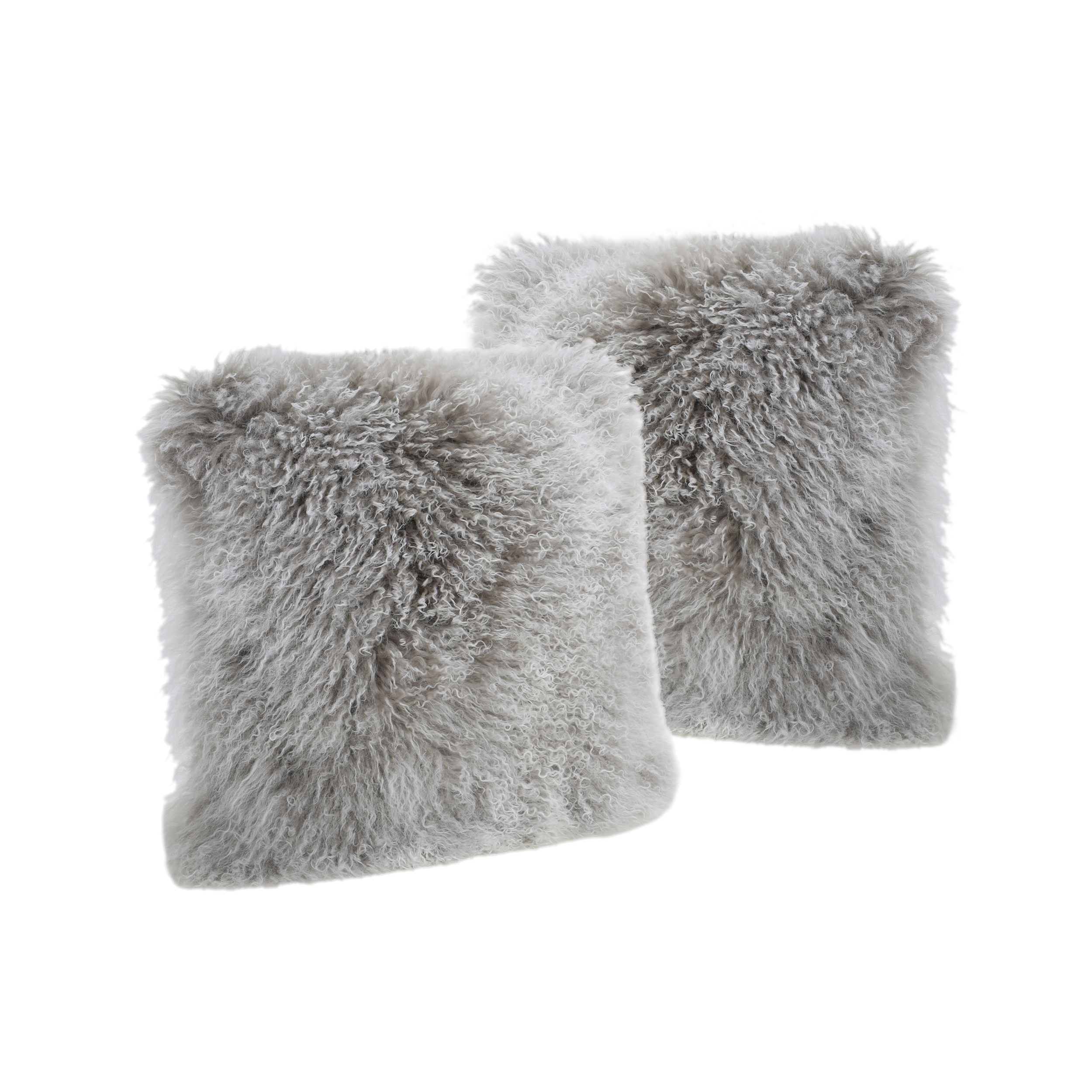 Marybelle Shaggy Lamb Fur 20 x 20 Square Pillows, Set of 2, Stone Grey