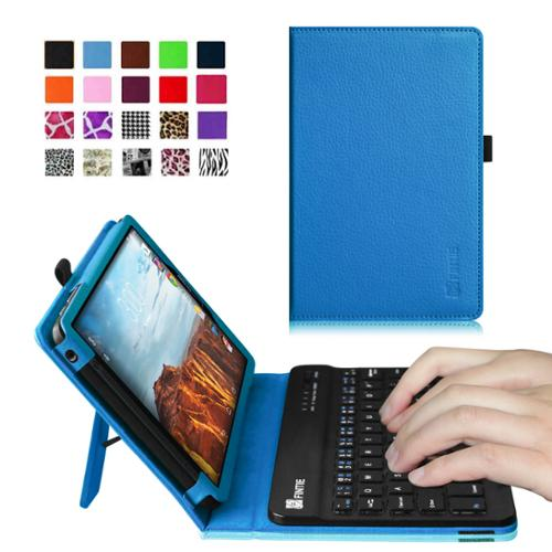 Verizon Ellipsis 8 4G LTE Tablet Keyboard Case - Fintie Slim Fit PU Leather Stand Cover with Removable Keyboard, Blue