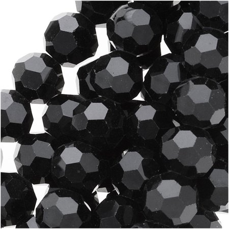 Jet Black Glass Faceted Round Beads 6mm 11.25 Inch Strand