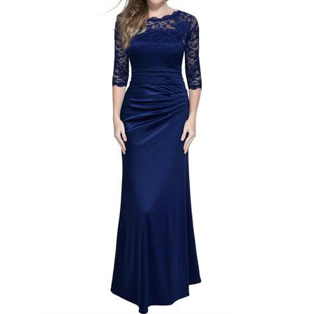 Women's Formal Evening Party Dresses,Vintage Floral Lace Long Maxi Wedding Dresses (Navy Blue,L) (Bridal Gowns Vintage)